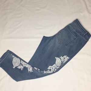 Lane Bryant Ankle Jeans with White Embroidery